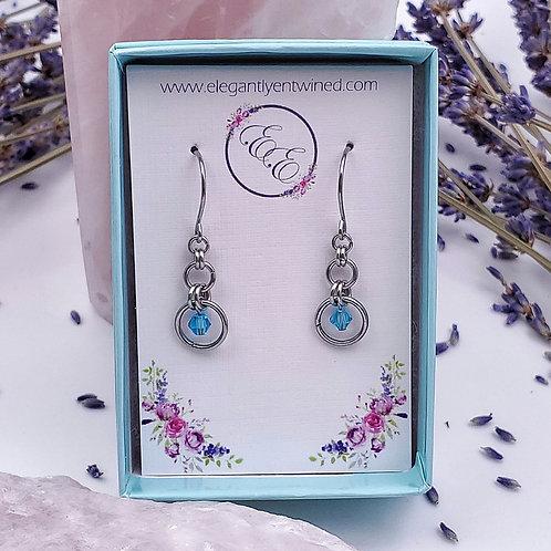 Light Blue Crystal Earrings in Stainless Steel