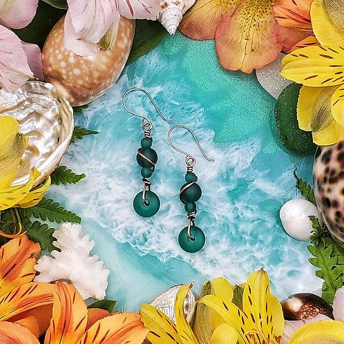 Teal Green Sea Glass Earrings in Copper