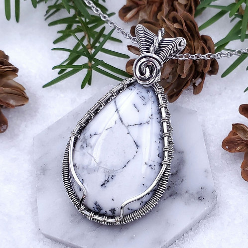 Dendritic Opal Pendant in Woven Silver Frame