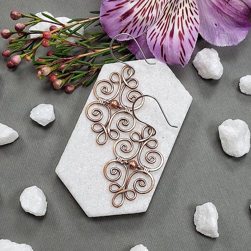 Ornate Swirly Earrings in Copper