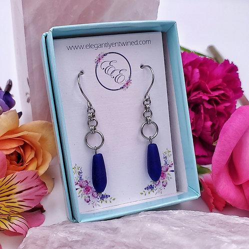 Royal Blue Matte Glass Teardrop Earrings in Stainless Steel