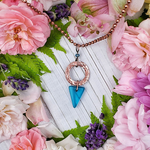 Blue Sea Glass and Crystal Pendant in Hammered Copper