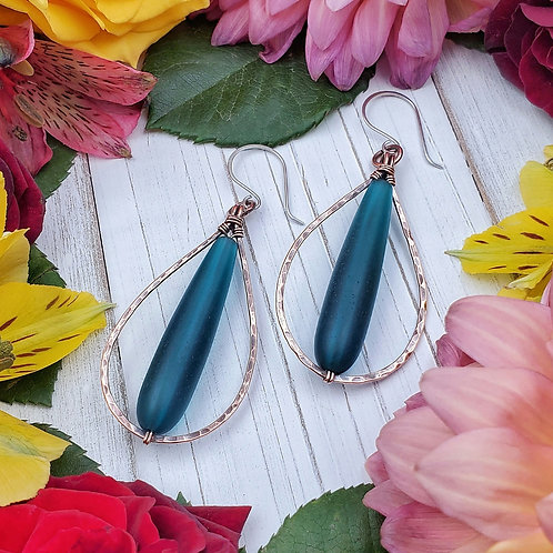Teal Matte Glass Earrings in Hammered Copper Frames