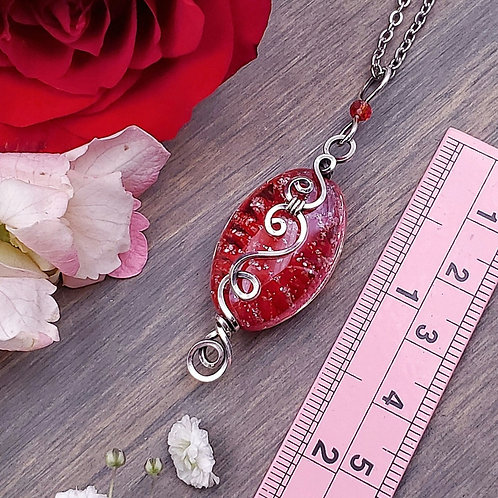 Sparkly Red Blown Glass Pendant in Swirly Silver