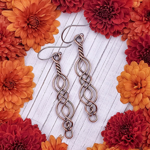 Twisted Celtic Earrings in Copper (2 inches)