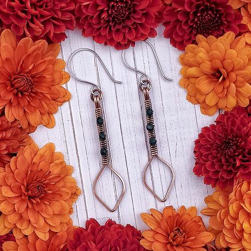 Emerald Green Crystal Beaded Earrings in Copper