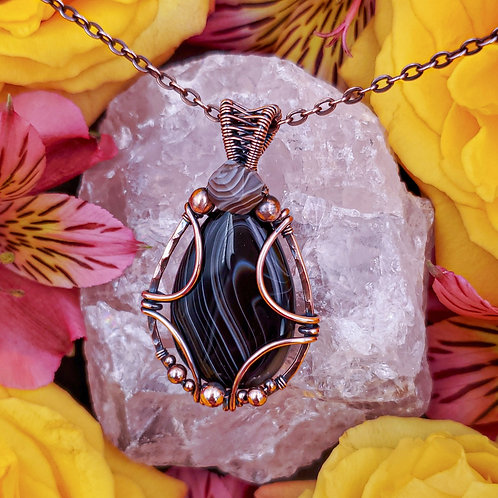 Banded and Botswana Agate Pendant in Hammered Copper Frame