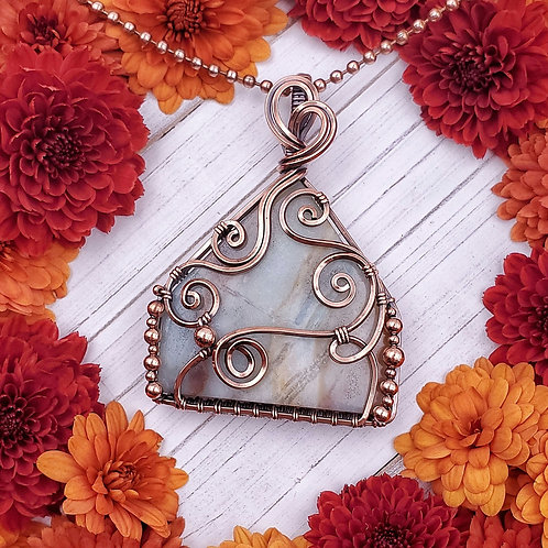 Amazonite pendant in Swirly Copper Frame with Copper Bead Accents