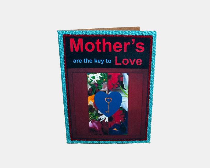 Key and Flowers Jute Greeting Card with Verse Insert