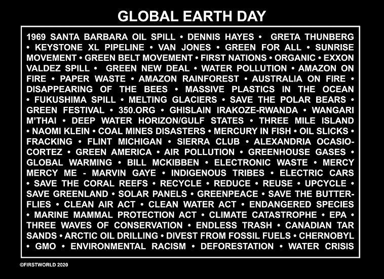 Global Earth Day Black Wall Art