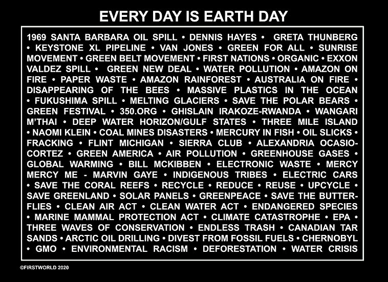 Everyday is Earth Day Black Wall Art