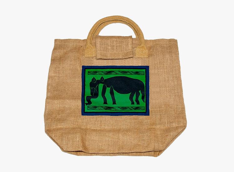 Elephant Jute Tote Bag