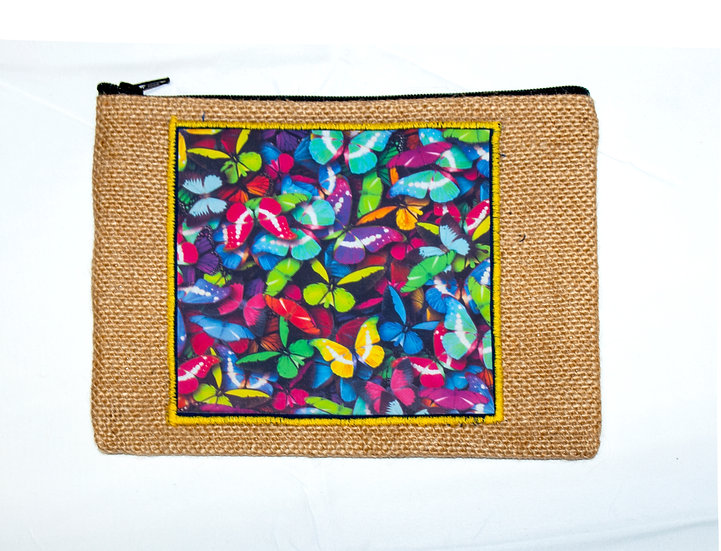 Butterflies with Yellow Border Zipper Pouch With Divider
