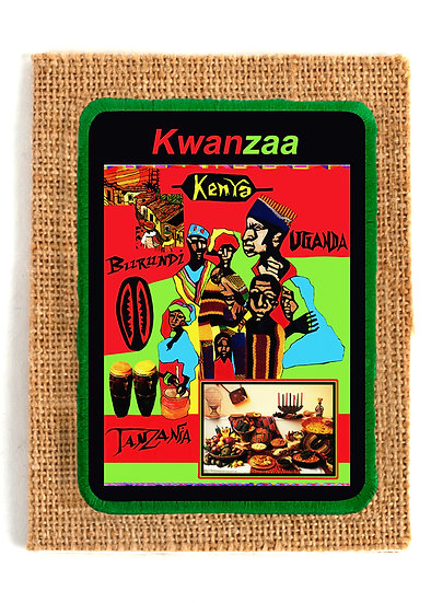 Kwanzaa Village Jute Greeting Card