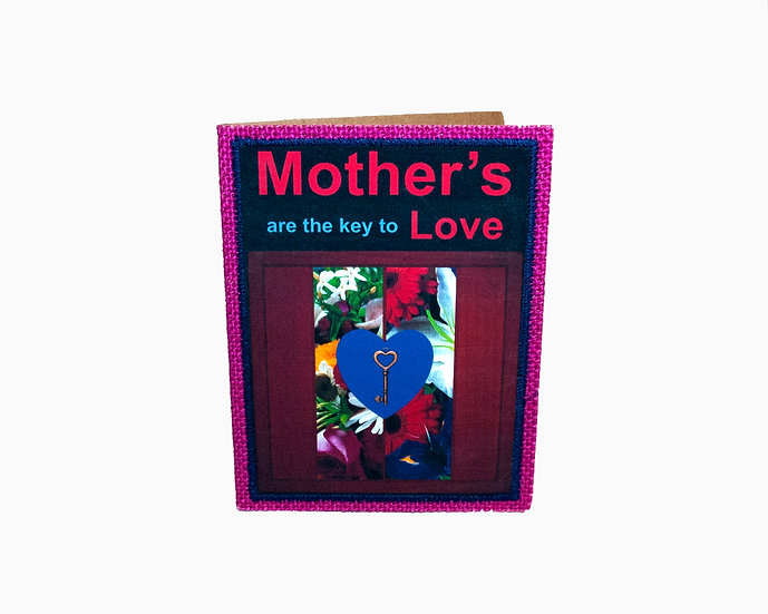 Key and Flowers Jute Greeting Card with Verse
