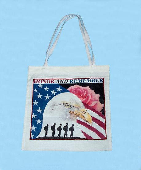 Honor and Remember Veterans Tote Bag W/Pocket