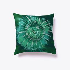 Green Swirl Tie-Dye Pillow
