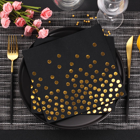 air-laid napkin black and gold