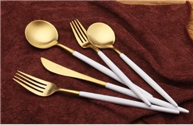 18/10 stainless steel flatware white and gold
