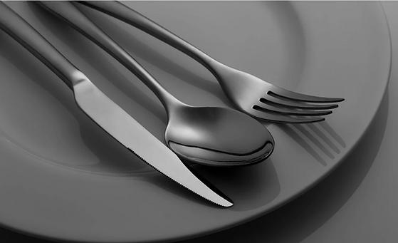 flatware cutlery set black