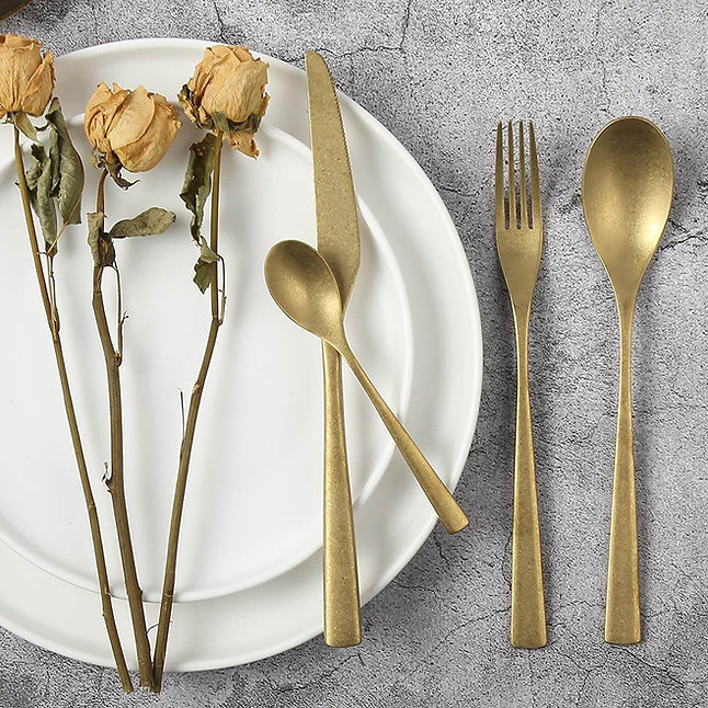 18/10 stainless steel flatware gold