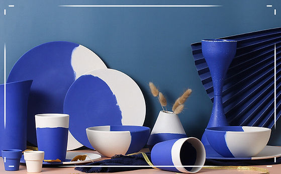 bamboo fiber plates blue and white