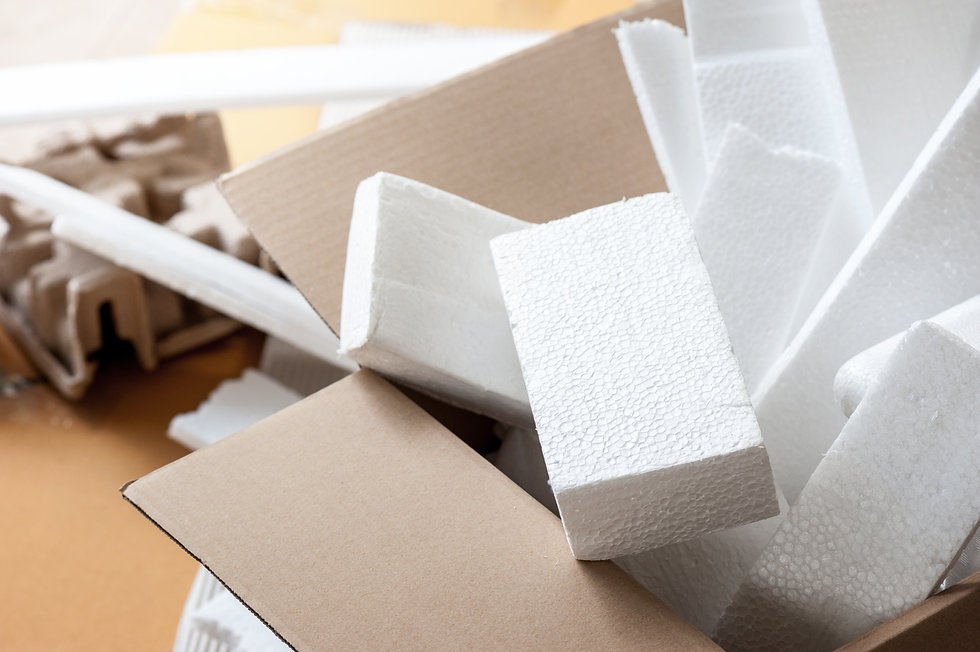 Closeup white polystyrene foam in parcel
