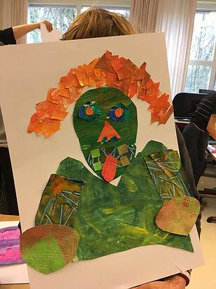 Kunstproject Maartenschool knipsels zelfportret Matisse