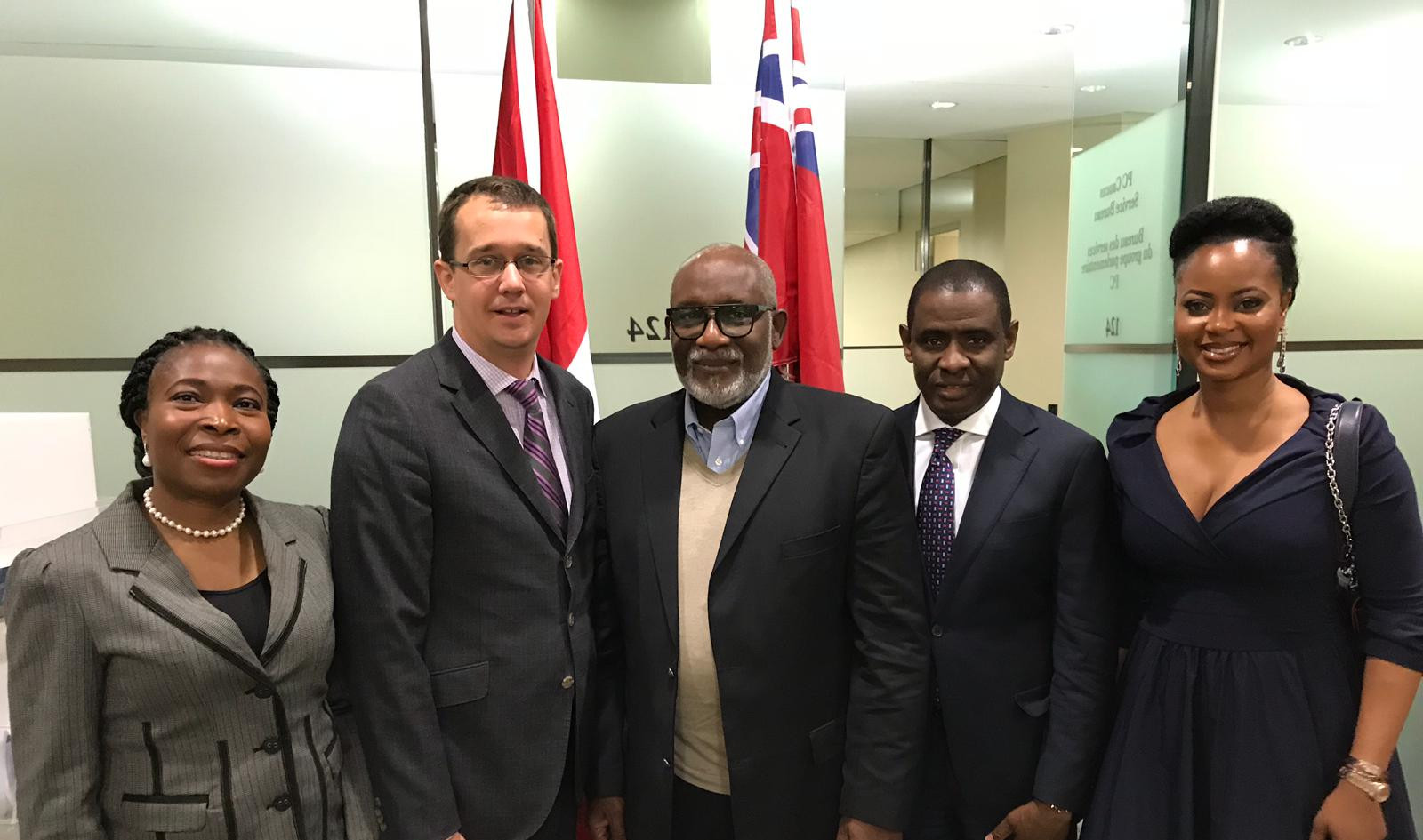 Dr Olu with Hon Monte Mc Naughton- Minister of Infrastructure, Canada His Excellency Governor Rotimi Akeredolu, Government of Ondo, Nigeria