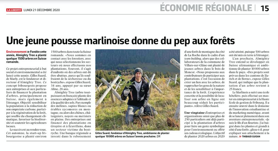 Article dans La Liberté, par Thibaud Guisan