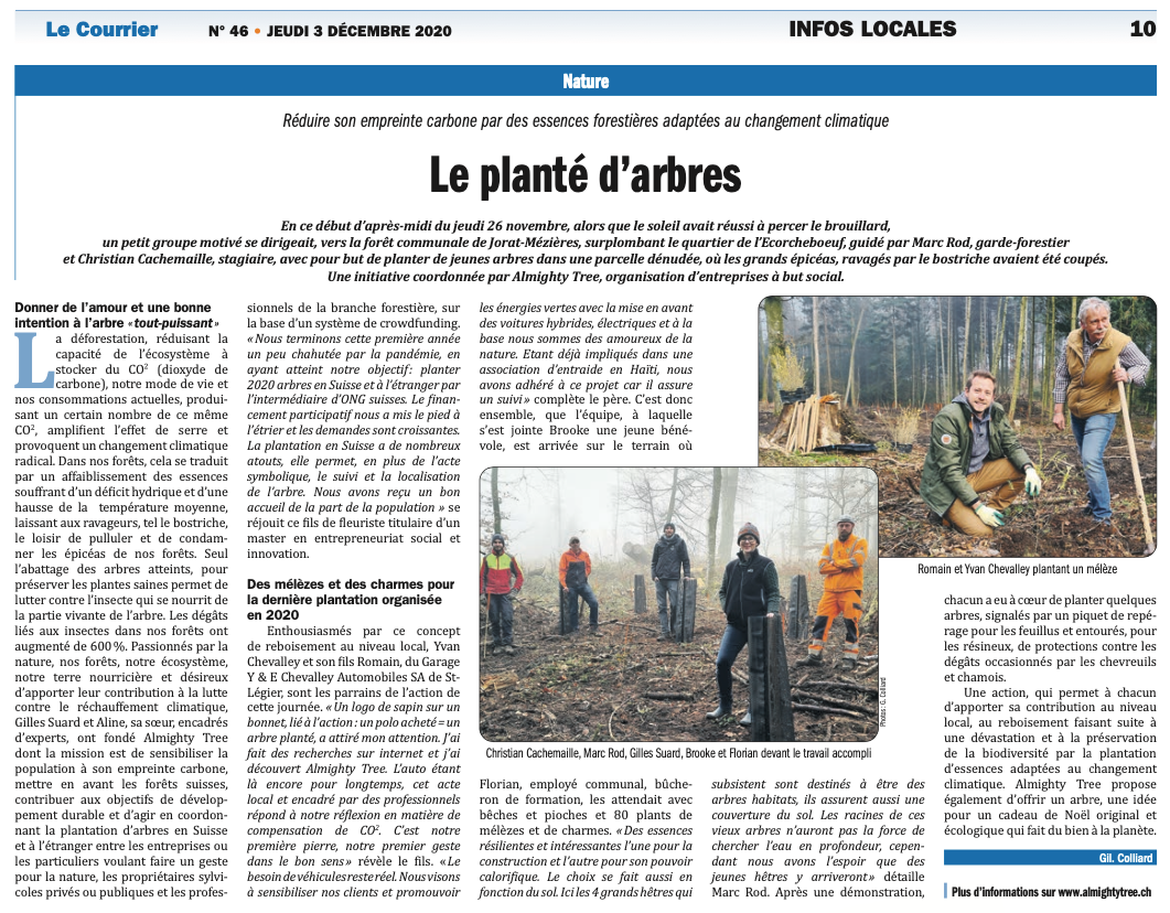Article dans Le Courrier, par Gilberte Colliard
