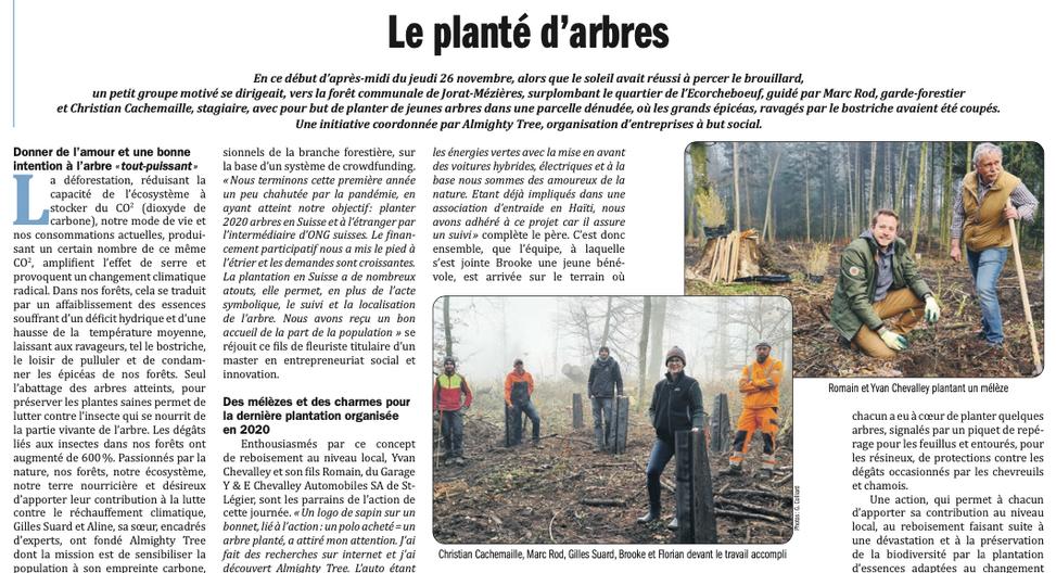 Artikel in Le Courrier von Gilberte Colliard