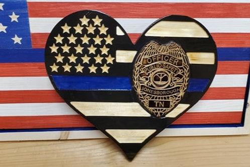 Jonesborough PD Blue line heart flag 3D