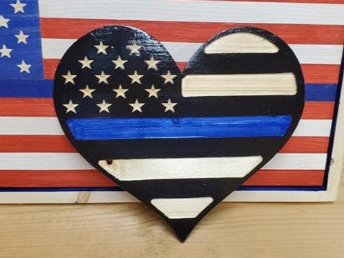 Blue line Heart shaped flag