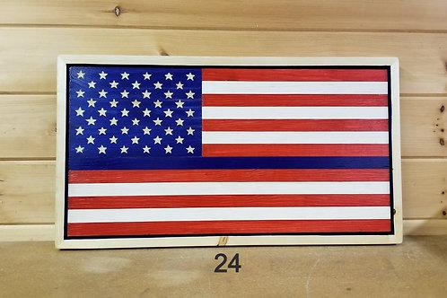 Thin Blue Line Handmade American Flag with Frame #24
