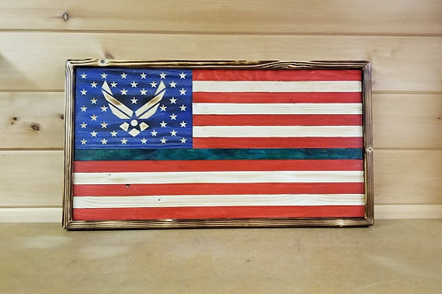 Hand carved Wooden American Flag Honoring Air Force #52