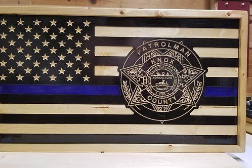 Custom Blue Line flag with 2D badge
