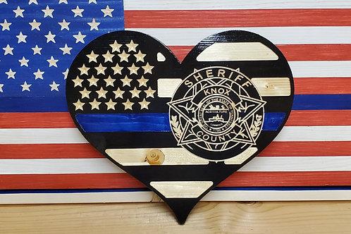 Custom Blue Line Heart with 2D badge
