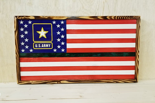 US Army Handcrafted Wooden American Flag #38