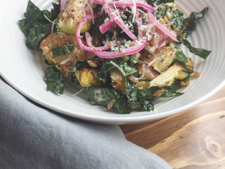 Warm Kale Salad with Brussels