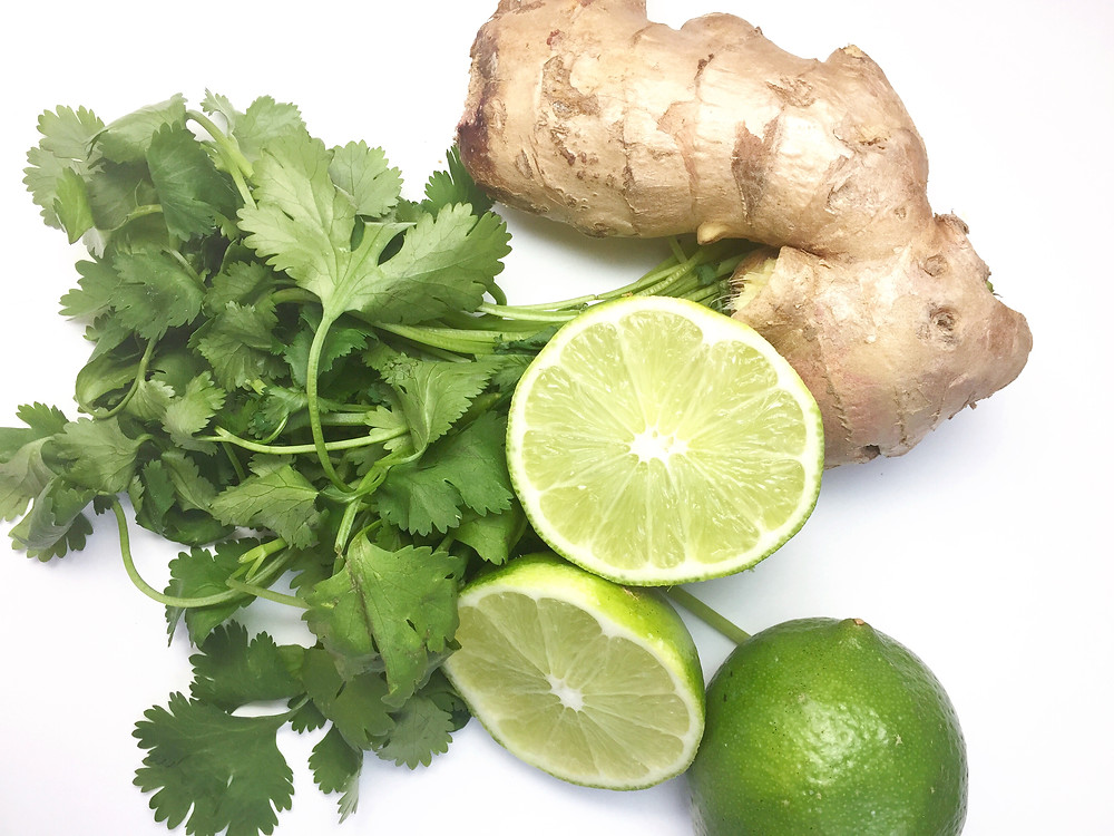 cilantro, lime, ginger