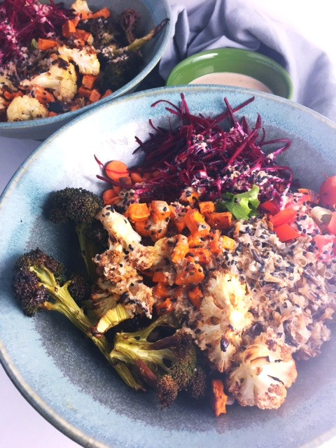 veggie bowl with sesame and coconut dressing