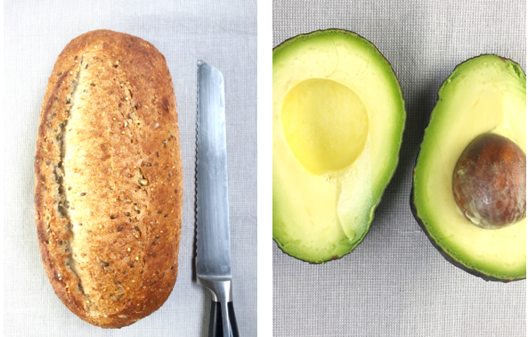 nutty bread and avocado