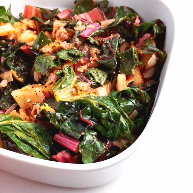 swiss chard and kimchi
