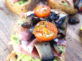 Avocado, Mushroom & Prosciutto Toast