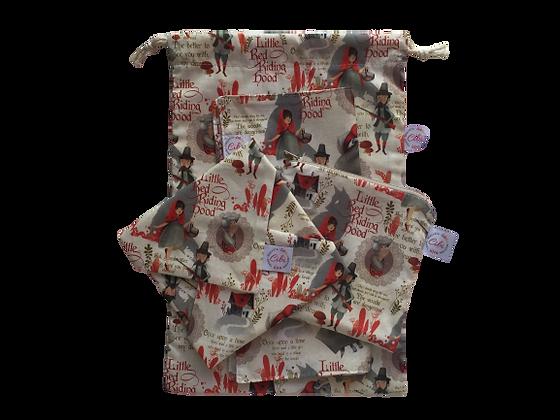 ÉLELMISZERBIZTOS SZETT - Piroska és a Farkas  asztali szalvétával és zsákkal