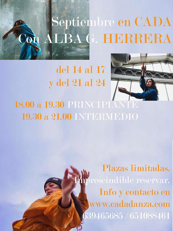 Curso de danza contemporánea con Alba G. Herrera. Septiembre 2020 en CadaDanza, Alcalá de Henares