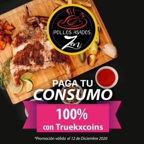 Pollos Asados ZEN se unen al festejo del aniversario TRUEKX, paga al 100% con TRUEKXCOINS💰