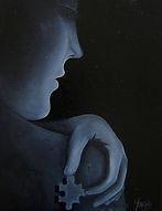 Huile sur toile, peinture, Garance Monziès, Autoportrait, puzzle, thérapie, recherche, ombre, lumière