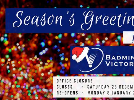 BV Office Closure (2017-2018 Festive Season Holiday)